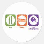 Tenis de mesa de Eat Sleep Play Pegatina Redonda