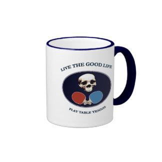 Tenis de mesa de la buena vida del cráneo del pira tazas de café