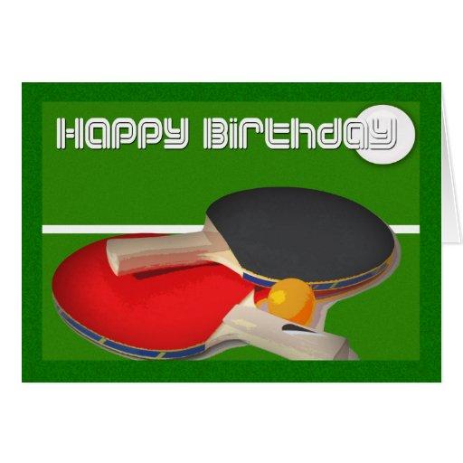 Tenis de mesa del ping-pong del deporte del cumple felicitación