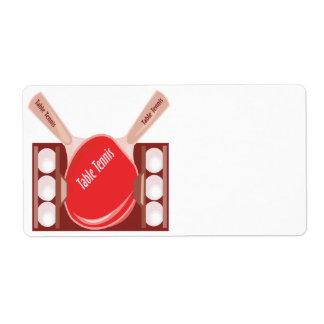 Tenis de mesa etiquetas de envío