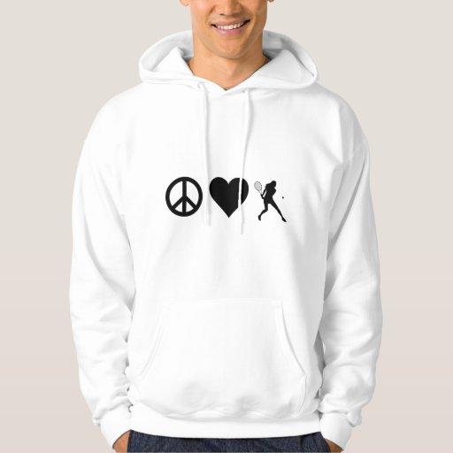 Tenis del amor de la paz (femenino) sudadera