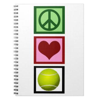 Tenis del amor de la paz libreta espiral
