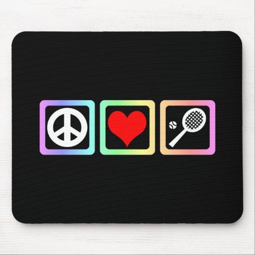 Tenis del amor de la paz mouse pads
