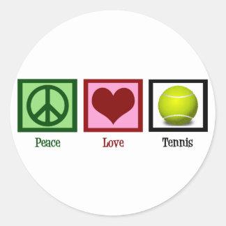 Tenis del amor de la paz pegatina redonda