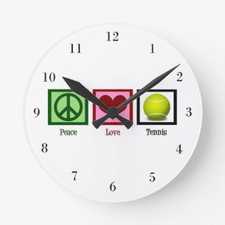 Tenis del amor de la paz reloj redondo mediano