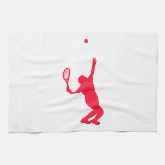 Tenis del rojo del escarlata toallas de mano
