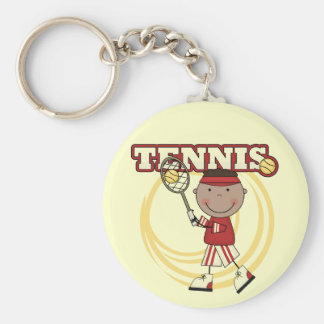 TENIS - muchacho afroamericano Llavero Redondo Tipo Pin