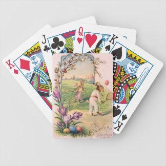Tenis pintado coloreado del huevo del conejito de  cartas de juego