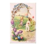 Tenis pintado coloreado del huevo del conejito de  impresión de lienzo