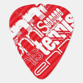 Tenis; Rayas del rojo del escarlata Púa De Guitarra