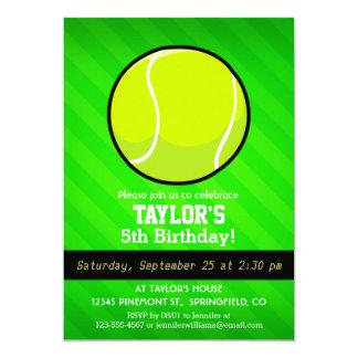 Tenis; Rayas verdes de neón Invitación 12,7 X 17,8 Cm
