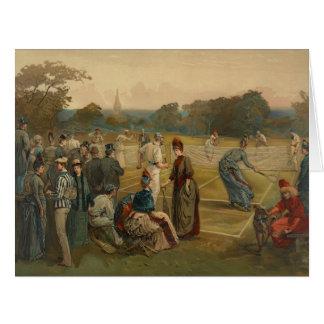 Tenis sobre hierba 1887 tarjeta de felicitación grande