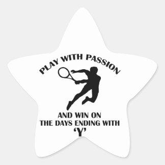 tenis sobre hierba calcomanías forma de estrella personalizadas