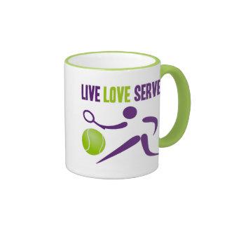 Tenis: Vivo. Amor. Servicio Taza De Dos Colores