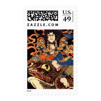 Tenjiku Tokubei riding a giant toad Postage