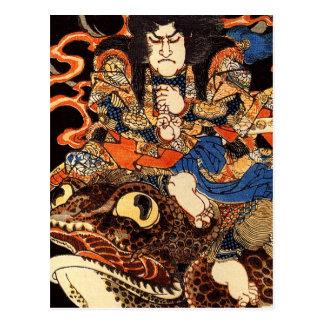 Tenjiku Tokubei riding a giant toad Postcard