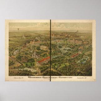Tenn Centennial Expo 1897 Antique Panoramic Map Poster