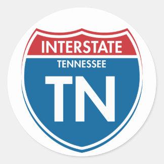 Tennessee de un estado a otro TN Pegatina Redonda