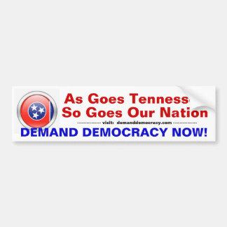 Tennessee exige democracia pegatina para auto