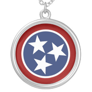 Tennessee Flag Emblem Round Pendant Necklace