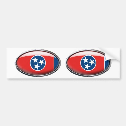 Tennessee Flag Glass Oval Bumper Sticker