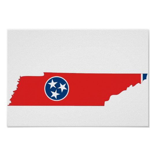 Tennessee Flag Map Poster