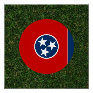 Tennessee Flag on Grass Perfect Poster