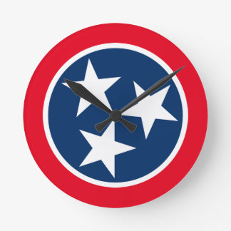 Tennessee Flag Round Clock