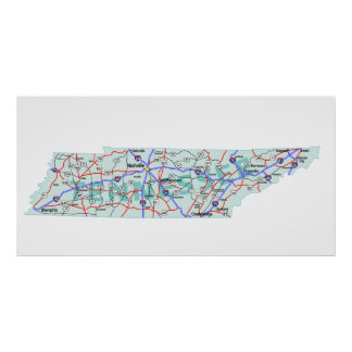 Tennessee Interstate Map Print