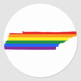 Tennessee LGBT Flag Map Classic Round Sticker