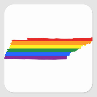 Tennessee LGBT Flag Map Square Sticker