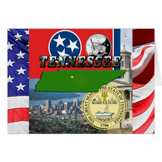 Tennessee Map, Flag, State Seal and Pictures Card