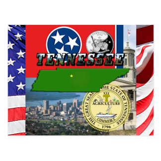 Tennessee Map, Flag, State Seal and Pictures Postcard