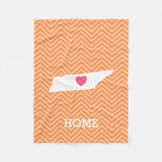 Tennessee Map Home State Love Optional Heart Fleece Blanket