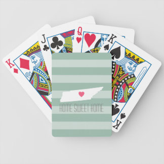 Tennessee Map Home State Love with Custom Heart Bicycle Playing Cards