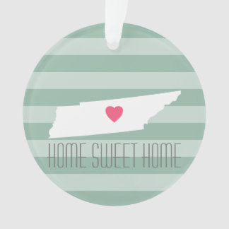 Tennessee Map Home State Love with Custom Heart Ornament