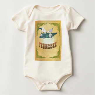 Tennessee Map With Lovely Birds Baby Bodysuit