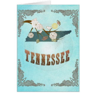 Tennessee Map With Lovely Birds Card