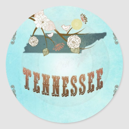 Tennessee Map With Lovely Birds Classic Round Sticker