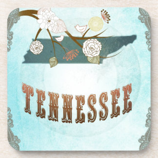 Tennessee Map With Lovely Birds Coaster