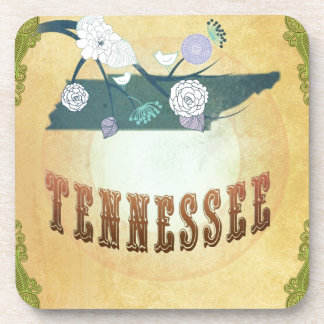 Tennessee Map With Lovely Birds Drink Coaster