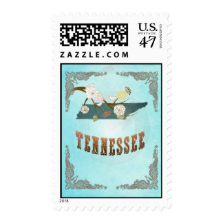 Tennessee Map With Lovely Birds Postage Stamp