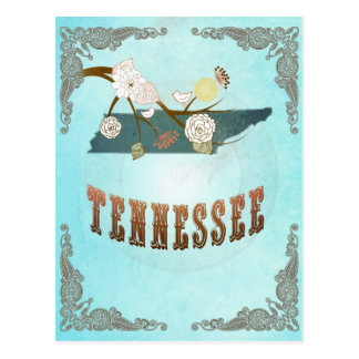Tennessee Map With Lovely Birds Postcard