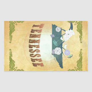 Tennessee Map With Lovely Birds Rectangular Sticker