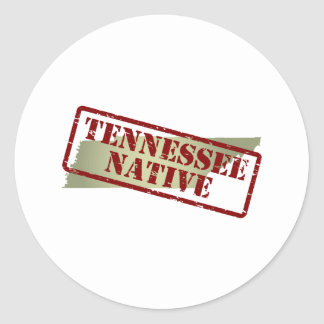 Tennessee Native Stamped on Map Classic Round Sticker