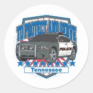 Tennessee para proteger y para servir el coche pegatina redonda