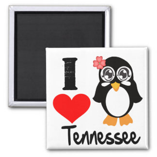Tennessee Penguin - I Love Tennessee 2 Inch Square Magnet