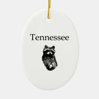 Tennessee Raccoon Double-Sided Oval Ceramic Christmas Ornament