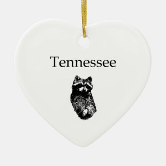 Tennessee Raccoon Double-Sided Heart Ceramic Christmas Ornament