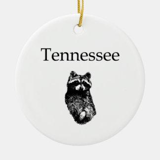 Tennessee Raccoon Double-Sided Ceramic Round Christmas Ornament